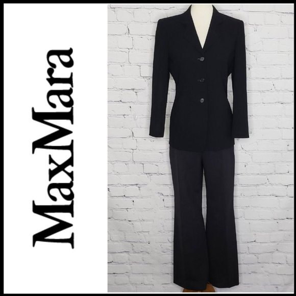 MaxMara Pants - MAXMARA HI-RISE Wool Straight Leg Trousers 10
